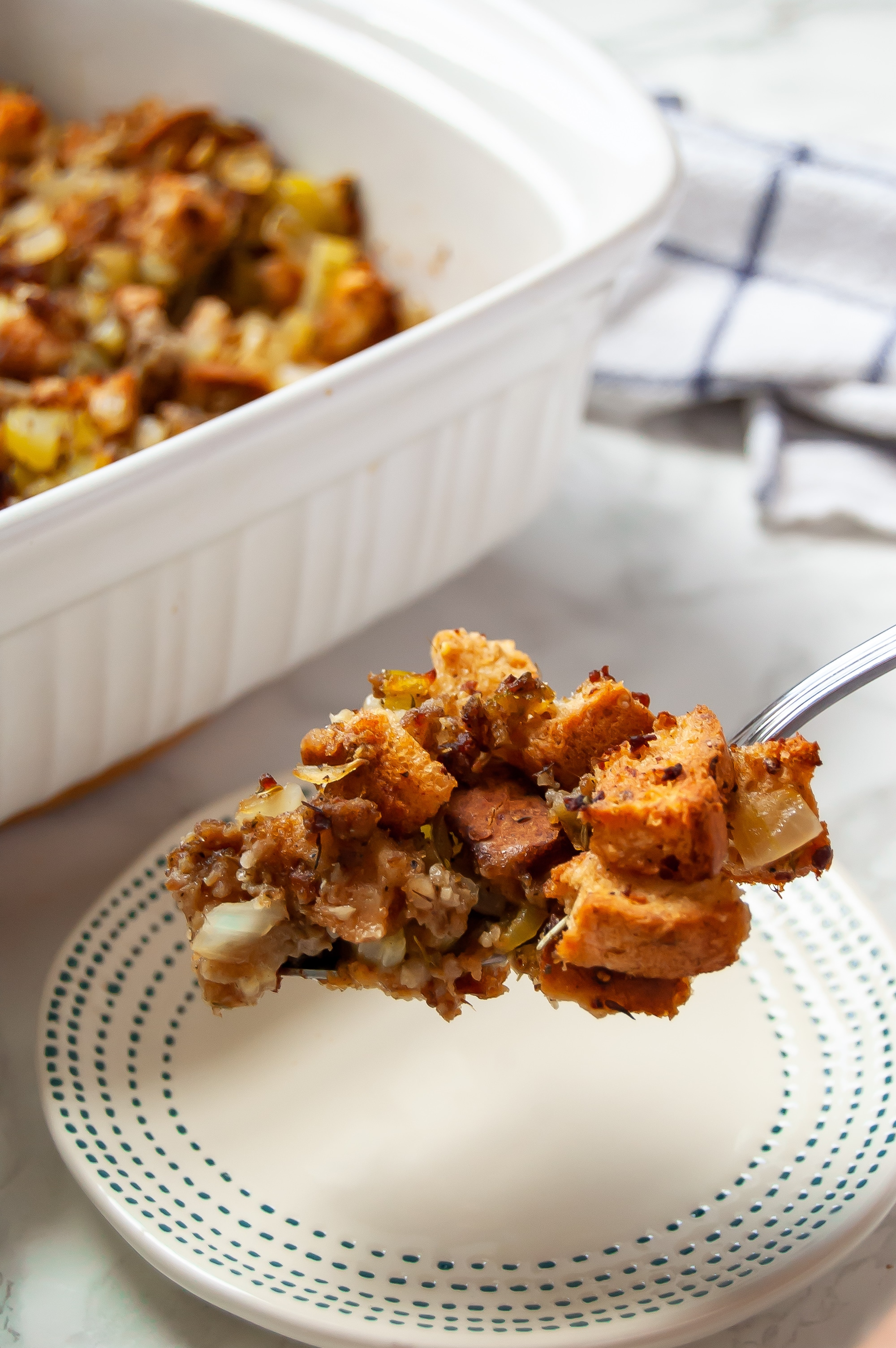 This gluten-free stuffing recipe with sausage is a classic, simple holiday side dish - the perfect Thanksgiving stuffing!
