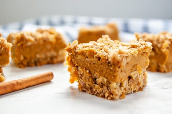 Made with butter and brown sugar, these simple pumpkin pie crumble bars are a delicious gluten-free pumpkin dessert! A perfect make ahead Thanksgiving dessert!
