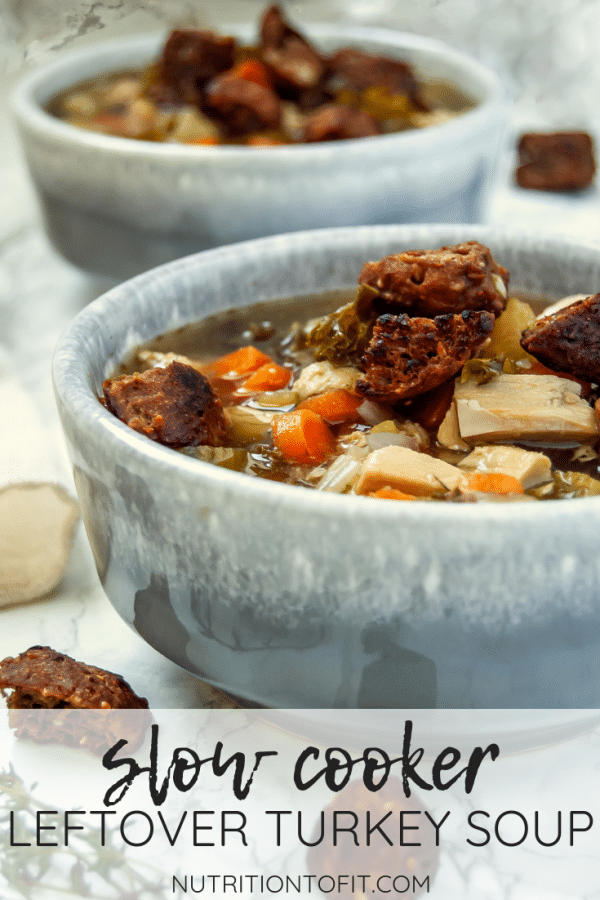 This leftover turkey soup recipe is an easy slow cooker recipe that helps use your Thanksgiving turkey leftovers! It's light and versatile - use your favorite vegetables!