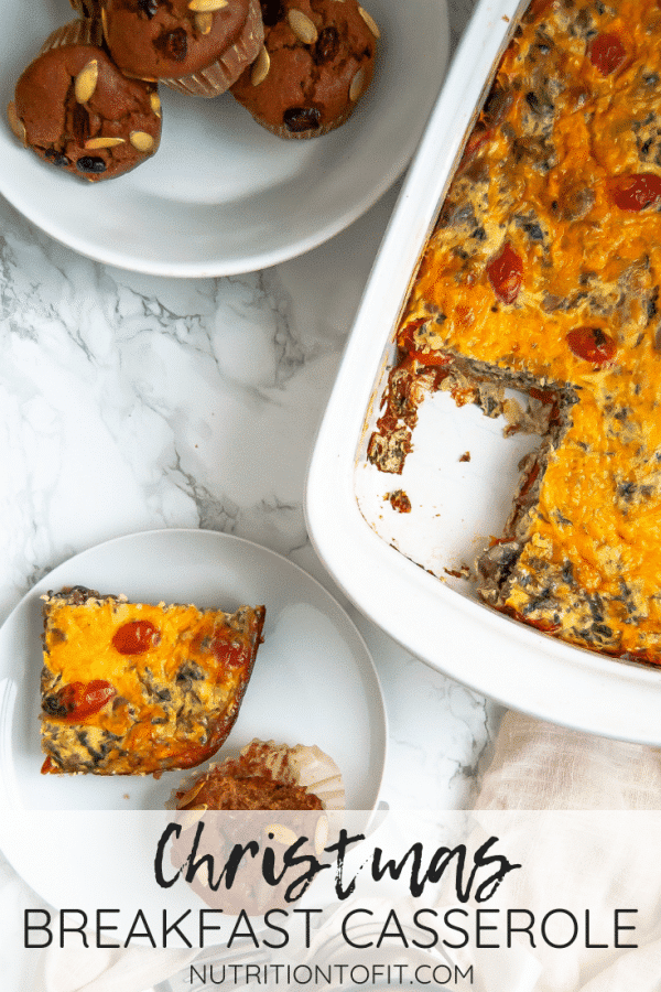 This Christmas breakfast casserole is a lightened up version of the classic sausage, hash brown, and egg casserole. It's great for breakfast, brunch, or even Christmas Eve dinner, whatever your holiday traditions are!