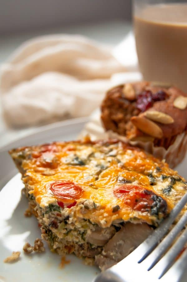 This Christmas breakfast casserole is a lightened up version of the classic sausage, hash brown, and egg casserole. It's gluten-free and is perfect for a Christmas breakfast recipe, Christmas brunch, or even Christmas Eve dinner, whatever your holiday traditions are!