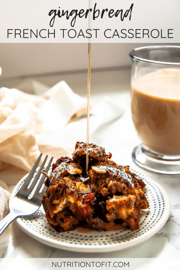 This plant-based, vegan gingerbread french toast casserole is a make-ahead breakfast recipe the whole family will love! It's perfect for Christmas morning!