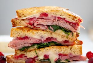 Leftover Ham and Brie Sandwich with Cranberry Sauce