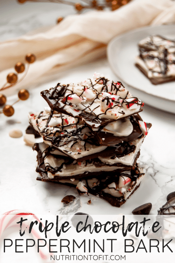This triple chocolate peppermint bark is a delicious holiday treat, perfect for enjoying with family or giving as an edible holiday gift to loved ones!