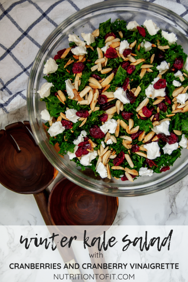 Pinterest Image for Winter Kale Salad with Cranberries Massaged with Cranberry Vinaigrette
