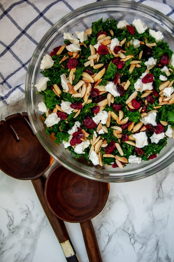 Overhead shot of winter kale salad with cranberries, goat cheese, toasted almonds, and a lightly sweet cranberry vinaigrette.