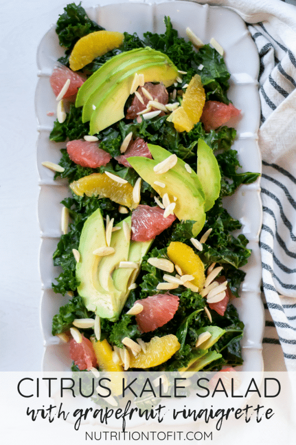 This citrus kale salad is a massaged with a simple grapefruit vinaigrette for a satisfying salad packed with delicious flavors and textures. Perfect for winter citrus season!