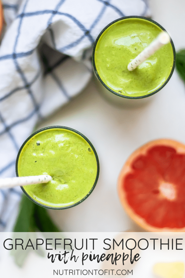 If you're a fan of grapefruit, you'll love this refreshing, balanced smoothie recipe full of fruit, greens, fiber, and more! This grapefruit recipe is a perfect way to use winter citrus while making a high-fiber smoothie!