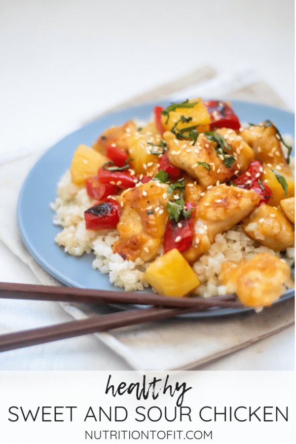 Pinterest image for healthy sweet and sour chicken.