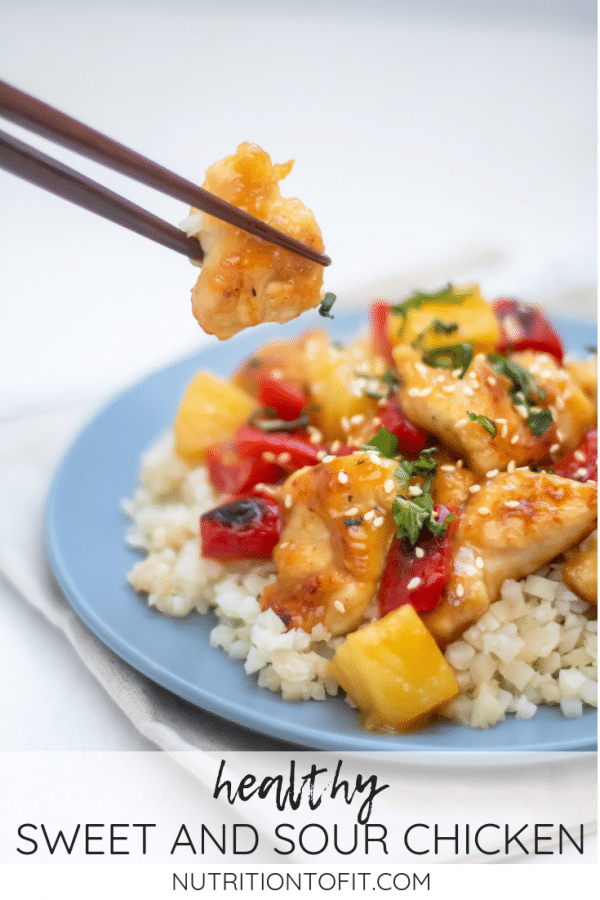 Pinterest Image with text of healthy sweet and sour chicken.