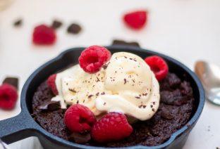 Skillet Brownies with Raspberries (Grain & Gluten-Free)