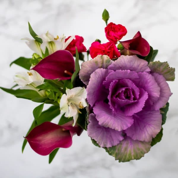 Arrangement of flowers with dark purple calla lillies, pink carnations, alstromeria, and a tiny purple cabbage flower head