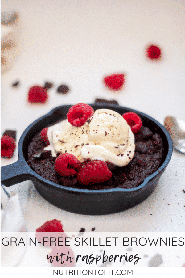 Grain-free and gluten-free skillet brownies with raspberries are a delicious and simple dessert perfect for Valentine's Day.