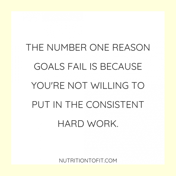 The number one reason goals fail is because you're not willing to put in the consistent hard work. Learn how to set goals that you can actually achieve.