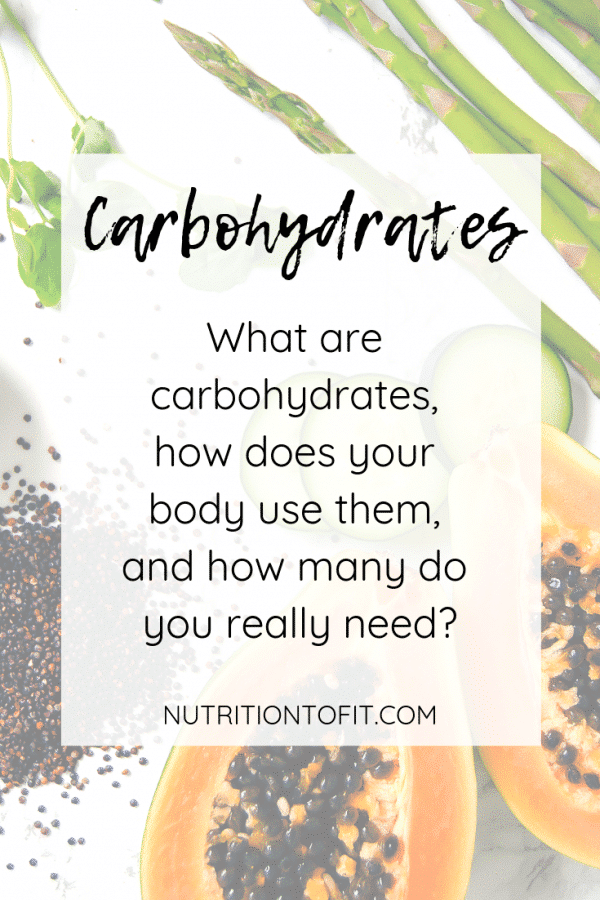 "Faded background with papaya, dried quinoa, asparagus, and cucumber slices with text in a white slightly transparent rectangle that reads, ""Carbohydrates: What are carbohydrates, how does your body use them, and how many do you really need?"""