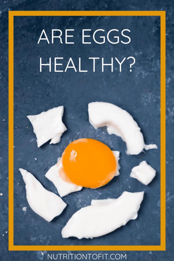 "Pinterest image with blue background and a broken cooked egg in pieces with the text ""Are eggs healthy?"""