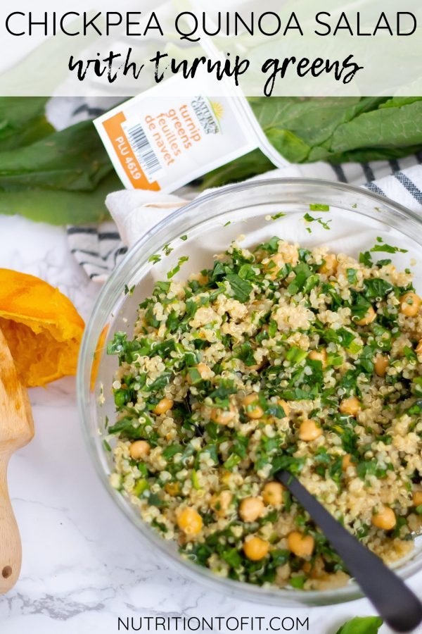 Chickpea Quinoa Salad with Fresh Turnip Greens and Orange Basil Dressing