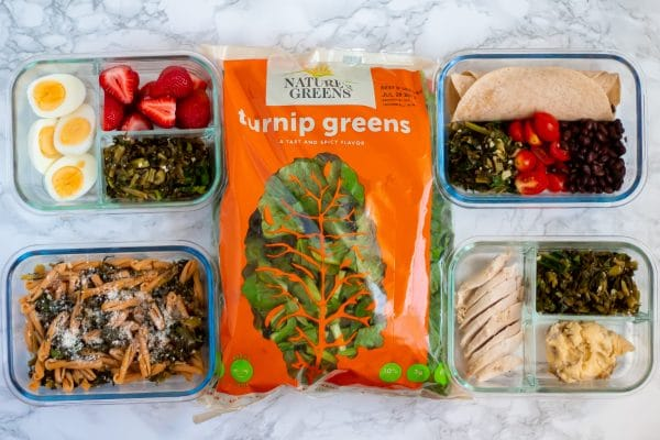 A bag of Nature's Greens turnip greens surrounded by 4 meal prep glass boxes showing how to use lemon garlic turnip greens different ways in your meal prep.