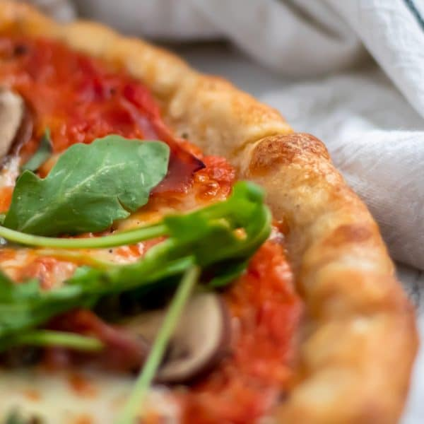 Pizza with sauce made from blistered tomatoes