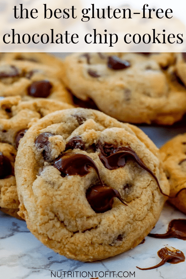 "chocolate chip cookies with a text overlay that reads ""the best gluten-free chocolate chip cookies"""