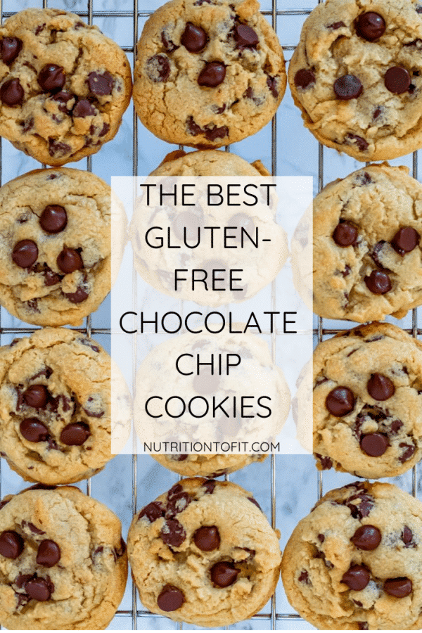 """chocolate chip cookies on a wire rack with a faded white box with text that says """"The best gluten-free chocolate chip cookies"""""""