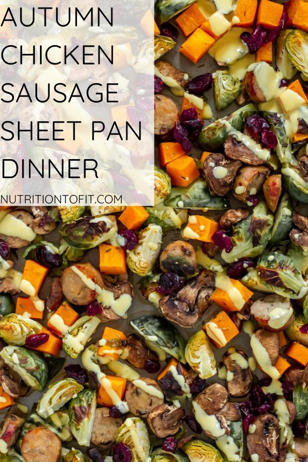 pinterest image for sheet pan autumn chicken sausage dinner