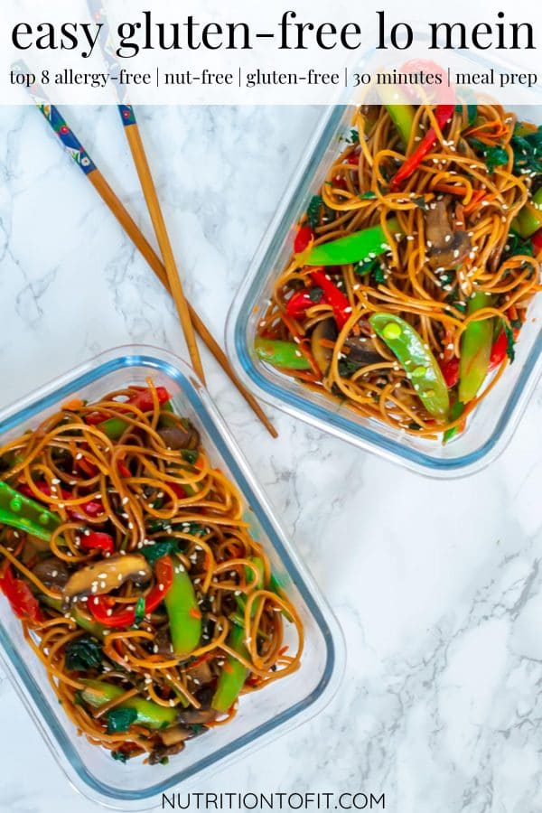 Pinterest image of two meal prep containers of lo mein.
