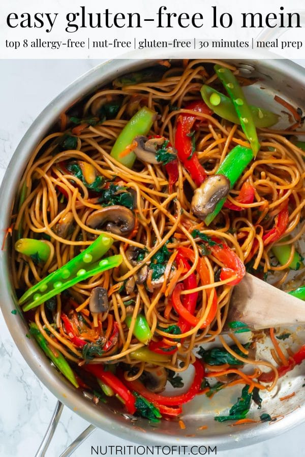 PInterest image of a pan of lo mein