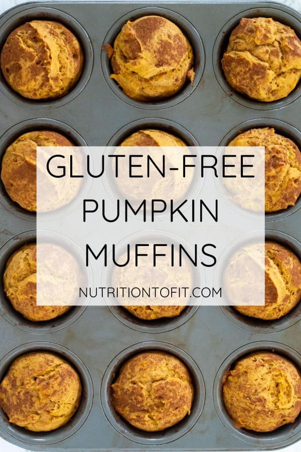 "pinterest image of pumpkin muffins dusted with cinnamon in a metal baking pan with a text overlay stating ""gluten-free pumpkin muffins"""