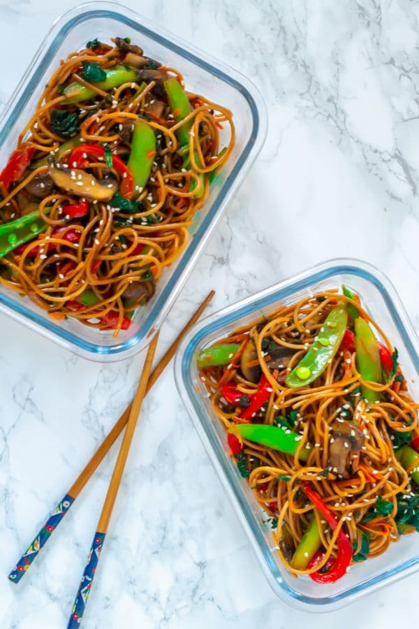 Two glass rectangle containers with lo mein