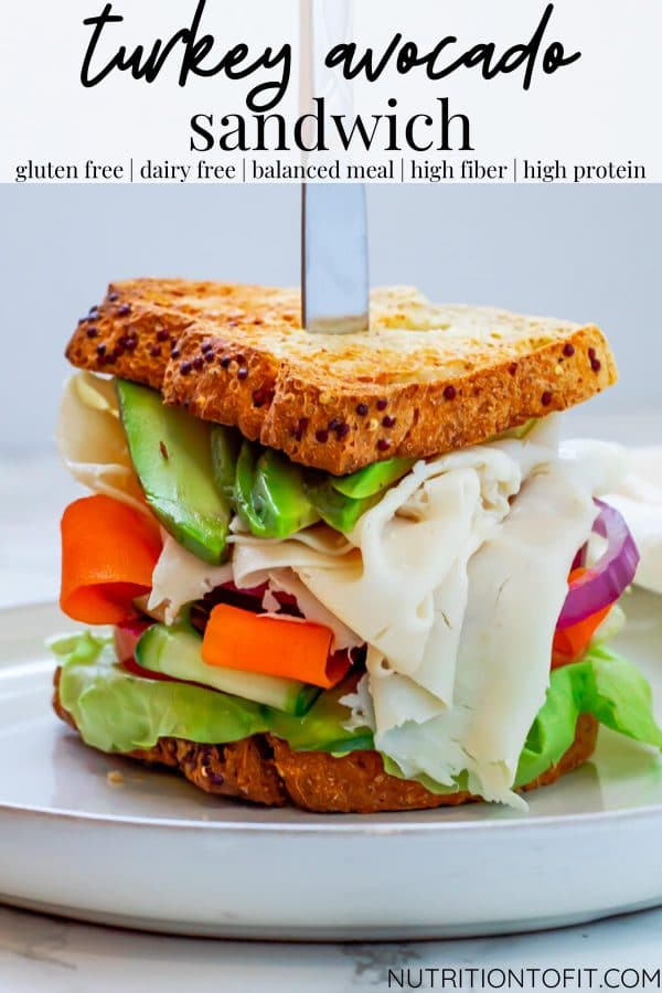 pinterest image for turkey avocado sandwich with veggies