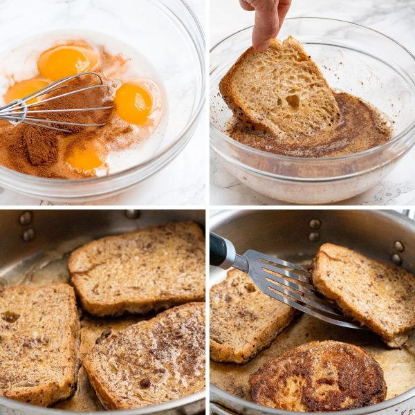 A four image collage depicting how to make French toast (creating an egg mixture, dipping bread in egg mixture, cooking in a pan, flipping to cook the other side).