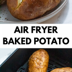 Pinterest image of air fryer baked potatoes