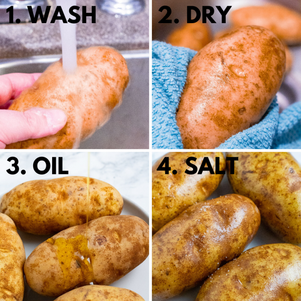collage depicting how to make an air fryer baked potato (wash, dry, oil, salt - then air fry!)