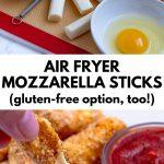 pinterest image of air fryer mozzarella sticks
