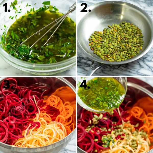 a 4 picture collage depicting the steps to make this fresh beetroot salad: 1. make dressing, 2. toast pepitas, 3. spiralize vegeatble, 4. combine everything and toss.