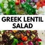 pinterest image greek lentil salad