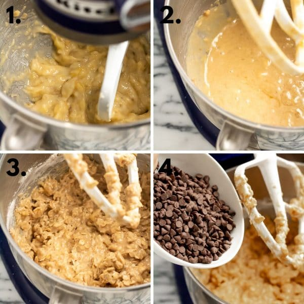 Collage depicting how to make banana bread cookies: 1. mash banana, 2. mix wet ingredients, 3. add dry ingredients, 4. stir in chocolate chips.