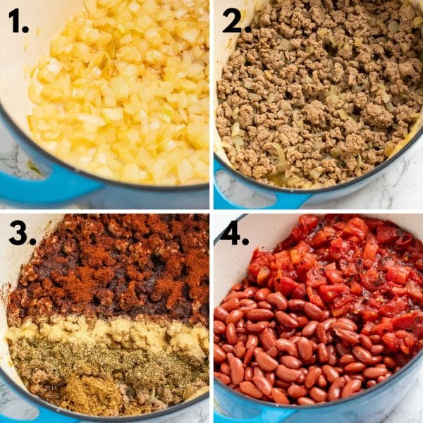 collage depicting how to make gluten-free chili: 1. saute onions, 2. brown meat, 3. add spices, 4. add beans, tomatoes, and broth