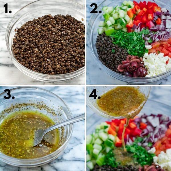 collage depicting steps how to make greek lentil salad (cook lentils, chop veggies, make dressing, toss)