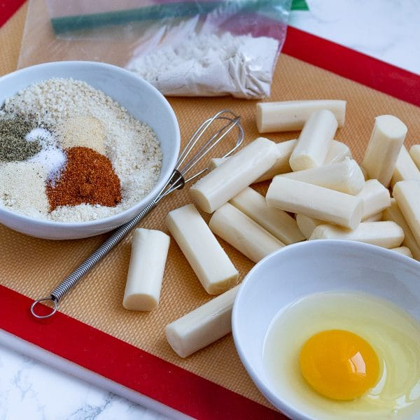 ingredients to bake oven baked or air fryer mozzarella sticks