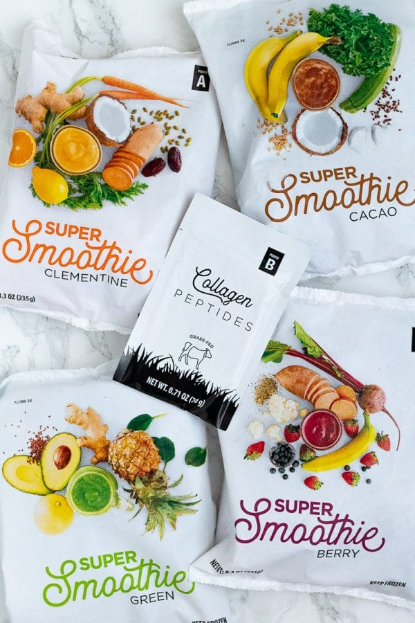 the four flavors of smoothie packs from SmoothieBox with a collagen packet