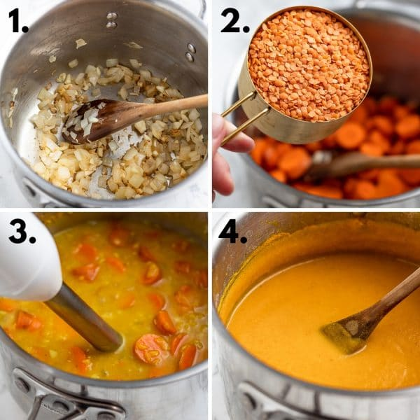collage depicting steps to make carrot lentil soup: saute onions and garlic, add lentils and carrots and broth, use an immersion blender, stir in lemon.