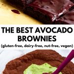 "picture of frosted fudgy avocado brownies and the bowl of brownie ingredients with text ""the best avocado brownies (gluten-free, dairy-free, nut-free, vegan)"""