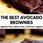 "Pictures of frosted avocado brownies with text ""The BEST Avocado Brownies (gluten-free, nut-free, dairy-free, vegan)"""