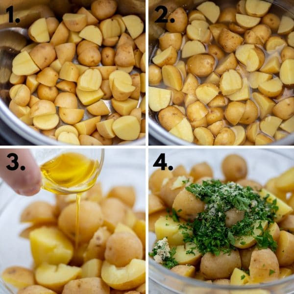 collage depicting steps of making instant pot potatoes: add potatoes, add water, cook, drain, add olive oil and seasonings