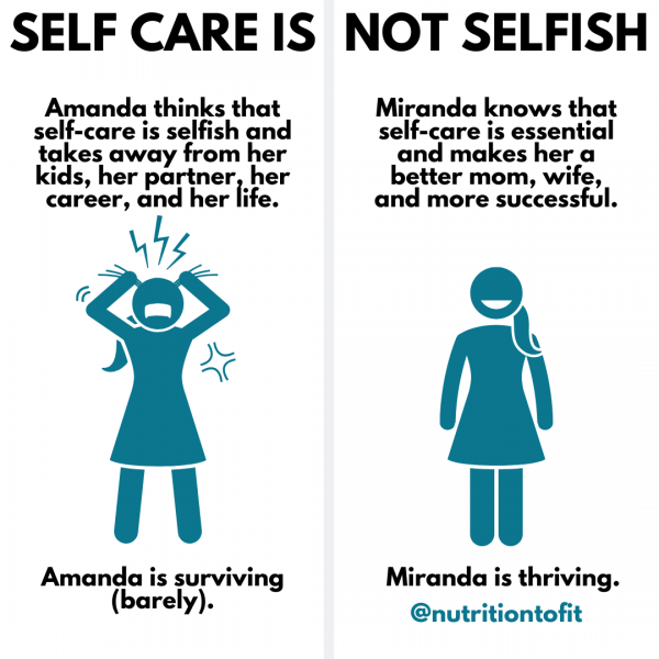 """illustrations of two females. The first is pulling out her hair and stressed and says, """"Amanda thinks that self-care is selfish and takes away from her kids, her partner, her career, and her life. Amanda is surviving (barely)."""" The second image is of a smiling woman with text that says """"Miranda knows that self-care is essential and makes her a better mom, wife, and more successful. Miranda is thriving."""""""