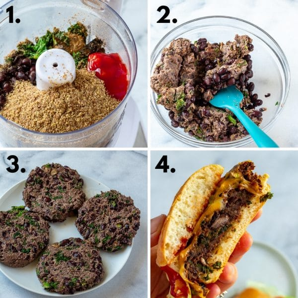 collage depicting steps to making veggie burgers: food processor, stir in whole beans, form into patties, cook and enjoy.