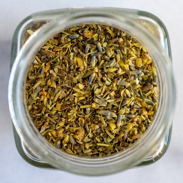 herbes de provence seasoning blend in a jar